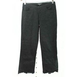 Betsey Johnson Black Eyelet Lace Hem Cropped Pants